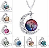 Silber Baum der Lebenszeit Edelstein Cabochon Halskette Mond Sonne Stammbaum Glas Anhänger schönen Schmuck Accessary Geschenk Mädchen