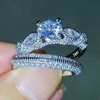 مجموعة فيكتوريا Wieck مذهلة مجوهرات فاخرة جولة قص 925 فضة الماس مقلد زفاف خطوبة فنجر حزام النساء Size5-11