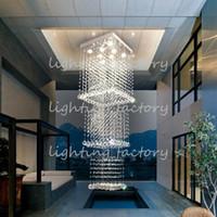 Lámpara de cristal moderna Chandelier Penthouse Chalet Larga escalera Luces Cristal Chandelier Tres escaleras