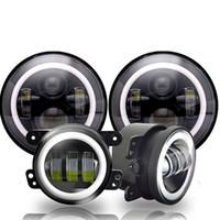 7inch Daymaker LED Headlights with White DRL/Amber Turn Signal + 4 inch LED Fog Lights White DRL for Jeep Wrangler 97-2017 JK LJ