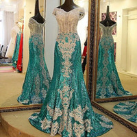 Sexy Off Shoulder Sequined Prom Dresses Lace Applique Beaded...