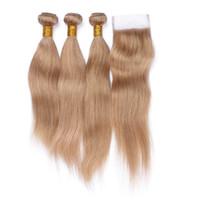 Bal Sarışın # 27 Saç Örgüleri Dantel Kapatma Ile 4x4 Ücretsiz bölüm İşlenmemiş İpeksi Düz İnsan Saç Dantel Kapatma Ile 3 Demetleri Ucuz Fiyat