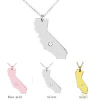 Карта ожерелье Америка Калифорния карта кулон ожерелья с сердцем DIY состояние кулон ожерелье ювелирные изделия оптом