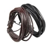 600 pz Bracciali da uomo involucro multistrato in vera pelle nero e marrone corda intrecciata braccialetto per uomo e donna charms gioielli uomo moda uomo