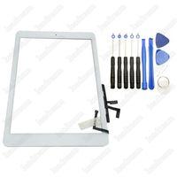 Сенсорный экран стеклянная панель дигитайзер с кнопками клей Ассамблеи для iPad air iPad 5 Черный и белый с инструментами для ремонта