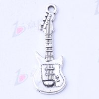 Guitarra Retro Pingente Fit Pulseiras ou Colar de Prata Antigo / encantos de bronze Jóias DIY 300 pçs / lote 3143z