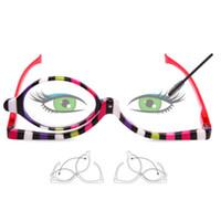 Maquiagem Eye Make Up eyeline sobrancelhas cílios Óculos de Leitura Óculos Lente Lente Dobrável Leitores de Cosméticos Das Mulheres 2 pares / pacote