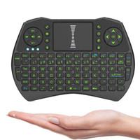 I9 Mini Fly Air Mouse مع إضاءة خلفية خضراء 2.4G لوحة مفاتيح تحكم عن بعد لاسلكية لوحة اللمس للكمبيوتر الدفتري Android TV Box