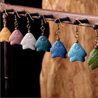 8 Colores Fat Fish Lava Pendientes de Piedra Perfume Difusor de Aceite Esencial Pendientes de Piedra Natural Étnicos Accesorios Joyería para mujeres