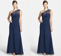 Chiffon simples rendas de casamento vestidos de festa de casamento barato azul marinho um ombro dama de honra vestidos de chão longo vestido formal longo