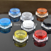 2000 pz / lotto 3G Crema quadrata barattoli trasparenti trucco plastica sub-imbottigliatura, contenitore cosmetico vuoto, piccolo contenitore di maschera campione