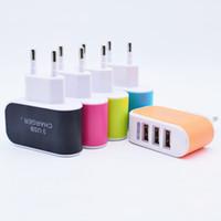 Alta Qualidade 5 V 3.1A 3 Portas USB Carregador de Parede LED EUA Plug UE Viagem AC Casa Adaptador De Alimentação Conveniente Doces para o iphone 6 s Samsung S7 Universal