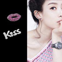 Уникальный дизайн микро проложить роскошные кубический Циркон CZ прекрасный поцелуй красные губы серьги асимметричный серьги S925 стерлингового серебра ювелирные изделия подарки