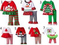 2016 детские Рождество наряд девушки олень рождественская елка футболка + кальсоны сборок 2шт наборы дети горошек топы дети весна осень одежда костюм