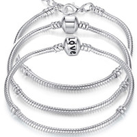 Charm Bracelets 925 Sterling Silver 3mm Snake Chain Fit Pand...