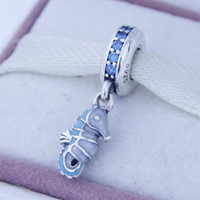 Tropical Seahorse Pendant Charm Fit for Pandora Bracelet 100% 925 Sterling Silver thread Beads DIY Making Jewelry wholesale 1pc/lot