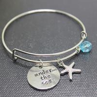 """12 pcs / lot Bracelets inspirants """"Sous la mer"""" pendentif bracelets Seashell charme personnalisé bangels pour femmes filles bijoux cadeau"""