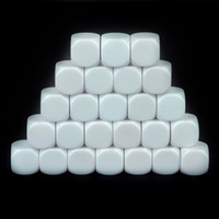 25pcs Set Taille Standard Blanc Deuts de jeu D6 Six Face Acrylique RPG Deuts de jeu 16mm pour BoardGame et autres accessoires de jeu