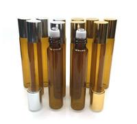 Las botellas del rodillo del aceite esencial de cristal de 10ml Brown con las bolas del rodillo del acero inoxidable, para las botellas de cristal 300Pcs / lot de los perfumes por DHL liberan el envío