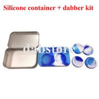 Sıcak satış FDA onaylı silikon conatiner 5 ml * 2 adet bir demir dabber dabber ile BHO için yapışmaz silikon balmumu kavanoz