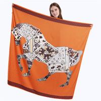 Nueva sarga bufanda de seda mujer póker caballo impresión bufandas cuadrados Shawls femeninosWraps moda mujer Hijab pañuelo 130 cm * 130 cm