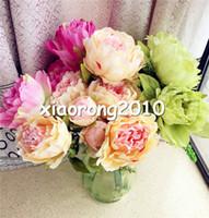 """45 cm / 17.72 """"Legnth peonía ramo de boda mesa de centro de mesa de centro de la decoración del hogar 7 unids seda cabezas de flores artificiales / arreglo de Bush"""