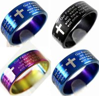 Bulk loten 100 stks Engels Lord's Prayer Cross roestvrijstalen ringen 3 kleuren mix groothandel heren mode-sieraden