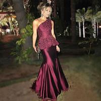 Элегантное кружево на одно плечо арабские вечерние платья Robe De Soiree 2018 бордовый русалка атласные платья женщин платье выпускного вечера длинные платья партии Дубая