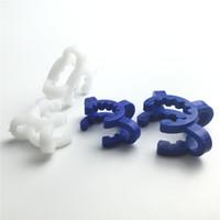 흰색 파란색 14mm 18mm 플라스틱 실험실 클램프 클립 유리 봉 또는 유리 어댑터에 대 한 고품질 플라스틱 켁 클립
