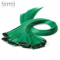 Neitsi 18inch 10pcs / lot Green # Clip synthétique droit dans les extensions de cheveux Synthétique Clip simple Hair Piece Colored Synthetic Hair Clips