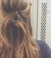 Women fashion hairclips gold silver plated metal triangle ha...