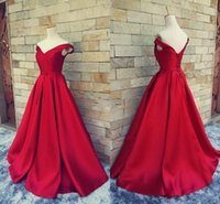 Réel Photos 2016 Simple Rouge Rouge Robes De Bal V Cou De L'épaule Ruché Satin Custom Made Backless Corset Robes De Soirée