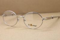 Hot 7550178 óculos de aço inoxidável Diamante azul Men óculos redondos óculos Frames C Decoração ouro óculos de armação Tamanho: 57-22-140mm