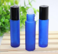 Frosted Bottles - Roll on Glass Bottle - Azul 10ml Size para aceite esencial - Empty Perfume Bottles - Cobalt Relillable Slim with Cap [Blue]