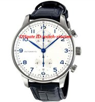 Luxury Watch Black Leather Bracelet White Dial Chronograph Q...