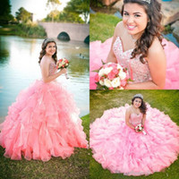 2017 New Pink Blue Organza Ball Gown Quinceanera Abiti Sweetheart Perline Paillettes Tier Ruffles Lungo Junior Dolce 16 Prom Party Pageant Gown