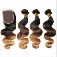 #1B/4/27 мед блондинка омбре Малайзийские волосы 3шт с кружева закрытия темные корни три тона объемная волна омбре пучки волос с закрытием