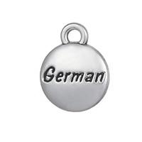 Messaggio Pendenti con ciondoli in argento tibetano incisi in tedesco per braccialetto Fai da te Gioielli 20 pezzi all'ingrosso