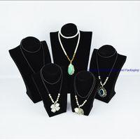 Black Velvet Window Cabinet Wood Treasure Chest Exhibitor Jewelry Necklace Display Stand Holder Torso Mannequin