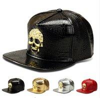 Neuer Stern-Hut-kühler Hysteresen-Goldkappen-Hip-Hop-Baseball-Hut-Mann-Sport-justierbarer amerikanischer PU-DJ-Straßen-Tanz-goldener Schädel-Hysteresen-Hut