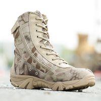 Mężczyźni Outdoor Hunting Wysokie buty Jesień Zima Wodoodporna Skóra Armia Buty Design Safty Work Shoes Combat Botki