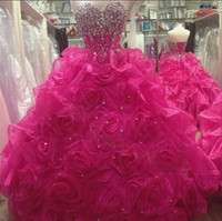 Real Picture Rose Ruffled Organza Quinceanera Dresses New Ar...