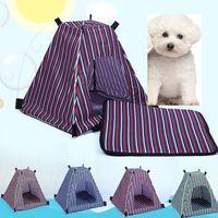 Летняя собака для собаки кошка питомник съемный съемный водонепроницаемый водонепроницаемый Оксфорд ткань домашнее животное палатка полоса стиль открытый путешествия по домашнимуществую кроватей WX-G17