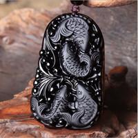 Toptan-Yeni Harika Çin İşi Doğal Siyah Obsidian Oymalı Balık Mutlu Reunion Şanslı Nimet kolye kolye Moda Takı