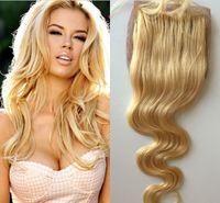 Brasileño Blonde Body Wave Base de seda Cierre Parte media Blanqueados Nudos con el pelo Libre de pelo Pelo virgen humano Swiss 613 Cierres