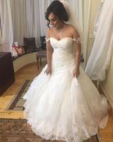 2016 Full Lace Trouwjurken Een lijn Bateau Capped Sleeves Illusion Back with Chiffon Trein Court Train Elegant Beach Bridal Towns