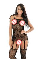 Freies Verschiffen weibliche sexy Dessous entblößte Brüste Erotische Wäsche geöffnete Gabelungs-reizvolle Unterwäsche Pjs Kostüme Garter Bodystocking Sexy Bodysuit