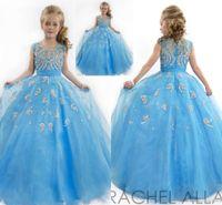 2020 어린 소녀 미인 드레스 구슬 크리스탈 캡 슬리브 Applique 핑크 지퍼 백 공 가운 꽃 소녀 드레스 HY1191