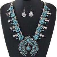 Conjuntos de Jóias boêmio Para As Mulheres Do Vintage Africano Beads Set Jóias Turquesa Moeda Declaração Colar Brincos Definir Moda Jóias