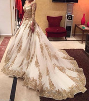 Duas Peças Vestidos de Noite estilo Saudita Mangas Compridas Vestidos de Noite Sexy Ilusão de Ouro Frisado Apliques de Noiva Vestidos de Baile 2016